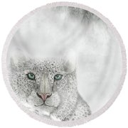 Round Beach Towel featuring the digital art Snow Leopard by Darren Cannell
