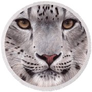 Snow Leopard Face Round Beach Towel