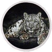 Snow Leopard Round Beach Towel