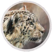 Round Beach Towel featuring the painting Snow Leopard Study by David Stribbling