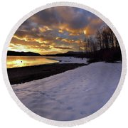 Snow On Beach Round Beach Towel