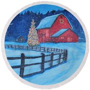Snow On Christmas Eve Round Beach Towel