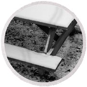 Snow On Picnic Table Round Beach Towel