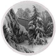 Snow On Pines Round Beach Towel