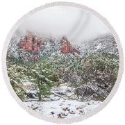 Snow On Red Rock Round Beach Towel