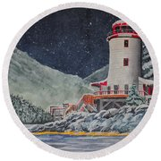 Snow On Sitka Sound Round Beach Towel