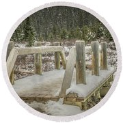 Round Beach Towel featuring the photograph Snow On The Bridge by Bill Howard