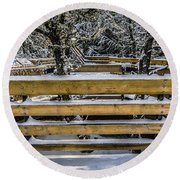 Round Beach Towel featuring the photograph Snow On The Fence by Bill Howard