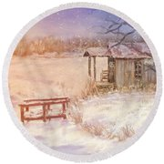 Snow On The Fishing Pond Round Beach Towel