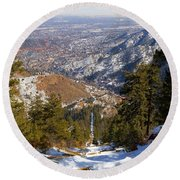 Snow On The Manitou Incline In Wintertime Round Beach Towel