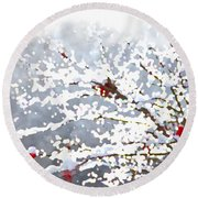 Snow On The Maple Round Beach Towel
