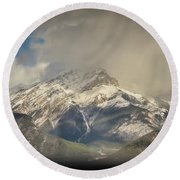 Round Beach Towel featuring the photograph Snow On The Mountain by Bill Howard