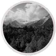 Snow On The Mountains Round Beach Towel