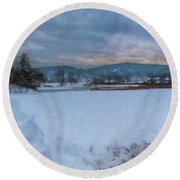 Snow On The West River Round Beach Towel