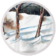 Snow Orchard Round Beach Towel