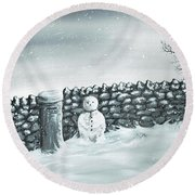 Round Beach Towel featuring the painting Snow Patrol by Kenneth Clarke
