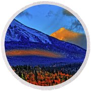 Round Beach Towel featuring the photograph Snow Peak Fall by Scott Mahon