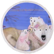 Frosty Polar Love Round Beach Towel by Meryl Goudey