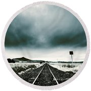 Round Beach Towel featuring the photograph Snow Railway by Jorgo Photography - Wall Art Gallery