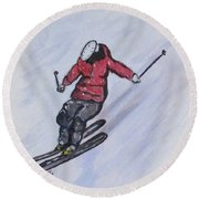Snow Ski Fun Round Beach Towel