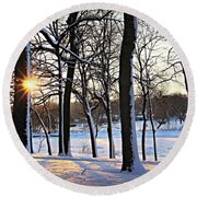 Snow Starred Grove Round Beach Towel