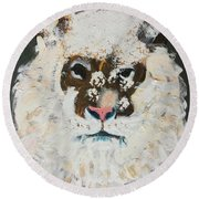 Round Beach Towel featuring the painting Snow Tiger by Donald J Ryker III
