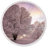Snow Tree At Dusk Round Beach Towel