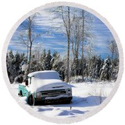 Snow Truck Round Beach Towel