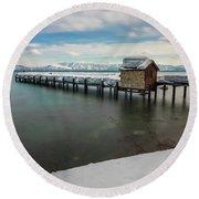 Snow White Pier Round Beach Towel by Alpha Wanderlust