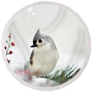 Snow White Tufted Titmouse Round Beach Towel by Christina Rollo