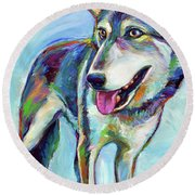 Round Beach Towel featuring the painting Snow Wolf by Robert Phelps