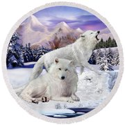 Snow Wolves Of The Wild Round Beach Towel
