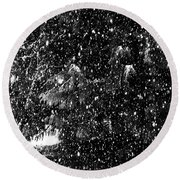 Round Beach Towel featuring the photograph Snow by Yulia Kazansky