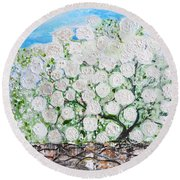 Snowballs Flowers Round Beach Towel by Evelina Popilian