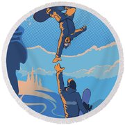 Snowboard High Five Round Beach Towel
