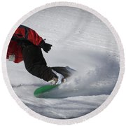Round Beach Towel featuring the photograph Snowboarder On Mccauley by David Patterson