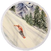 Round Beach Towel featuring the painting Snowboarding Free And Easy by Bill Holkham