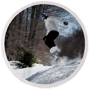 Round Beach Towel featuring the photograph Snowboarding Mccauley Mountain by David Patterson