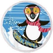 Snowboarding Penguin Round Beach Towel