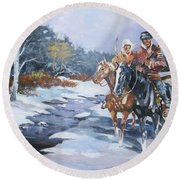 Round Beach Towel featuring the painting Snowbound Hunters by Al Brown