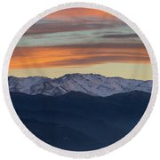 Snowcapped Miapor Range Under Golden Clouds, Armenia Round Beach Towel