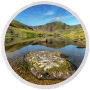 Round Beach Towel featuring the photograph Snowdonia Mountain Reflections by Adrian Evans