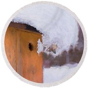 Round Beach Towel featuring the photograph Snowdrift On The Bluebird House by Gary Slawsky