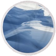 Round Beach Towel featuring the photograph Snowdrift Structure by Angela DeFrias