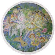 Round Beach Towel featuring the painting Snowdrop The Fairy And Friends by Judith Desrosiers