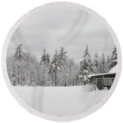 Snowed In Round Beach Towel