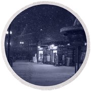 Snowfall In Harvard Square Cambridge Ma Kiosk Monochrome Blue Round Beach Towel