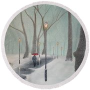 Snowfall In The Park Round Beach Towel