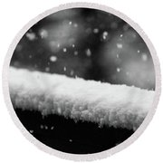 Snowfall On The Handrail Round Beach Towel