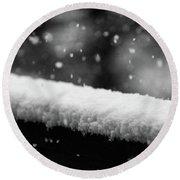Snowfall On The Handrail Round Beach Towel by Jason Coward